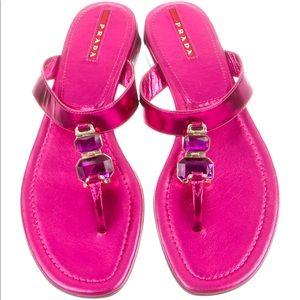 🔥New Prada sport T- strap pink metallic sandals